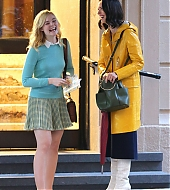 elle fanning, rebecca hall, on set, woody allen, new york city, october 19 2017